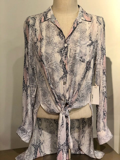 Tie-Front Tunic Blouse (Snake)