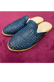 Luisa Woven Leather Slide - Denim