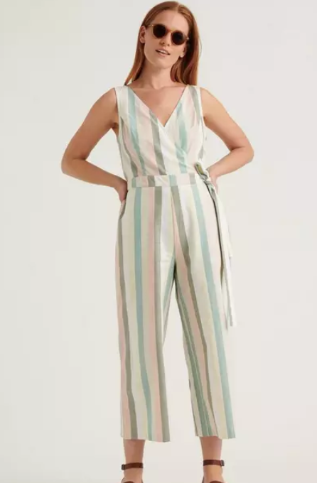 Pastel Stripe Crop Jumpsuit