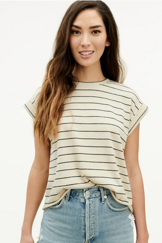 Stripe Balloon Sleeve Popover Shirt