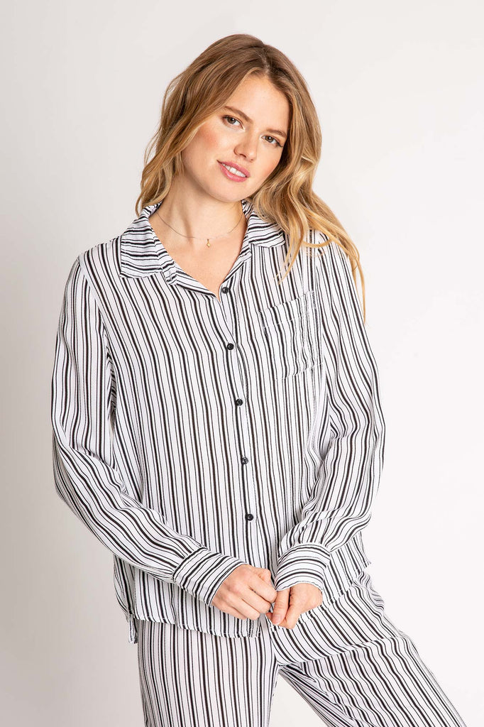 Striped Long Sleeve Button Front Top