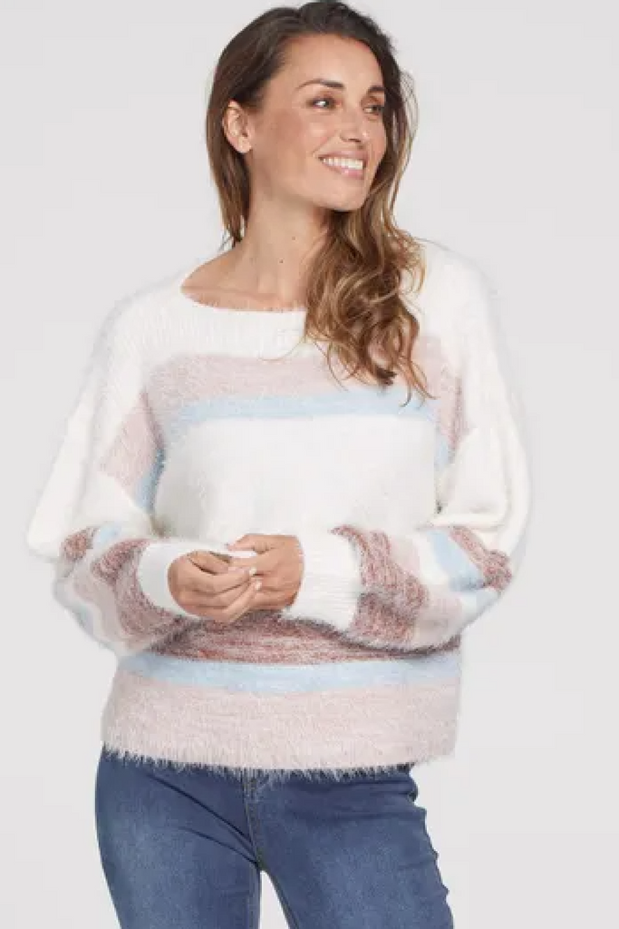 Fuzzy Striped Boat Neck Sweater