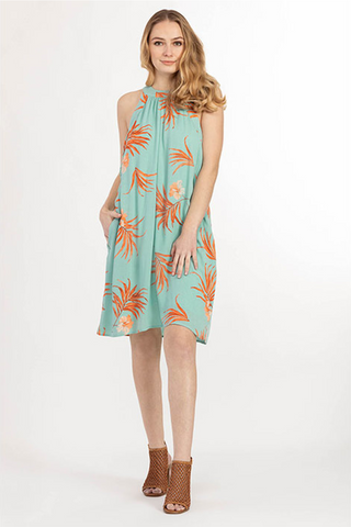 Palm Leaf Halter Dress