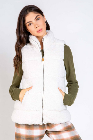 Quilted Sherpa Vest - Ivory