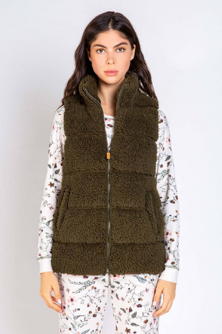 Quilted Sherpa Vest - Olive