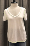 Relaxed V-Neck Tee with Neon Stitching