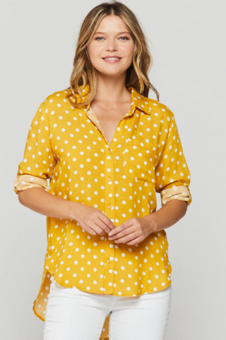 Mustard Polka Dot Button Up Shirt