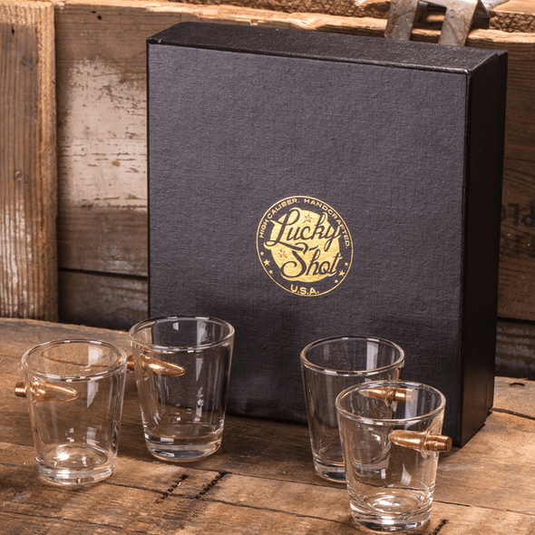 .308 Bullet Shot Glass Gift Set - 4 Pack of Shot Glasses in Box