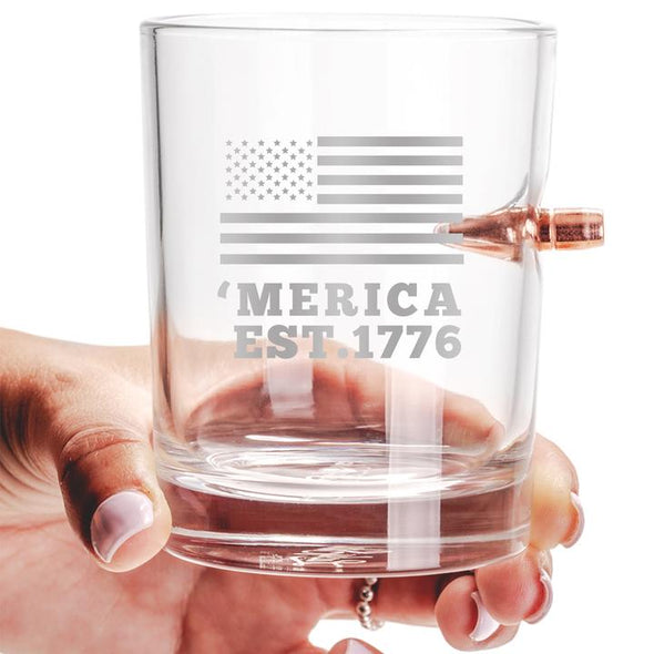 .308 Bullet Whiskey Glass – 'Merica EST. 1776
