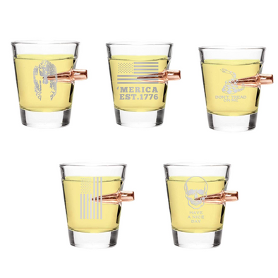 .308 Bullet Shot Glass Pack of 5 Styles – 36 Pieces Total