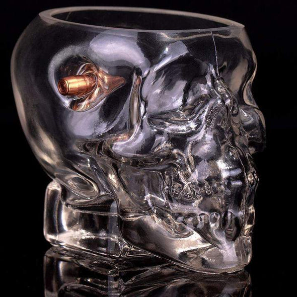 Headshot Skull Whiskey Glass - Embedded with a Real .308 Bullet