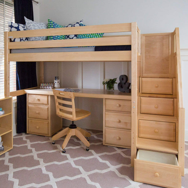 High Loft Bed w/Staircase, Long Desk and 2 - 3 Drawer Dresser