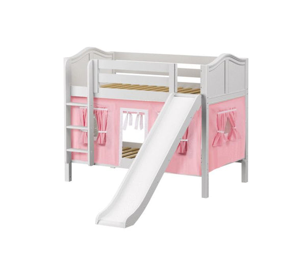 Twin Low Bunk Bed with Straight Ladder, Curtain + Slide