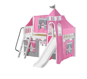 Twin Low Loft Bed with Angled Ladder, Curtain, Top Tent, Tower + Slide