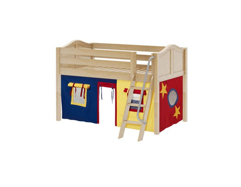 Twin Low Loft Bed with Angled Ladder + Curtain