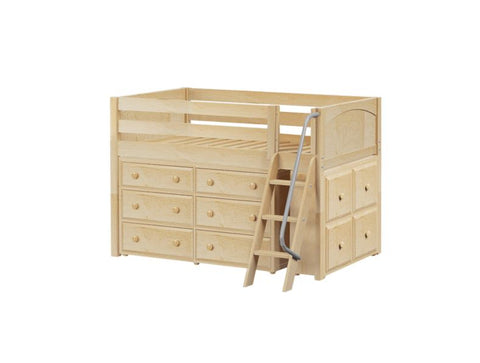 Twin Low Loft Bed with Angled Ladder + Dresser + Cube Unit.