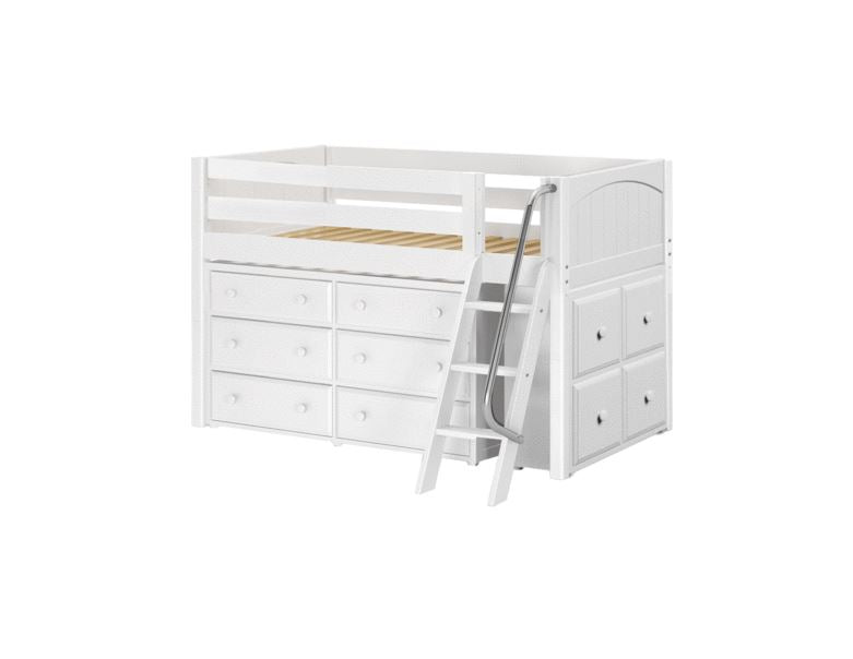 Twin Low Loft Bed With Angled Ladder Dresser Cube Unit