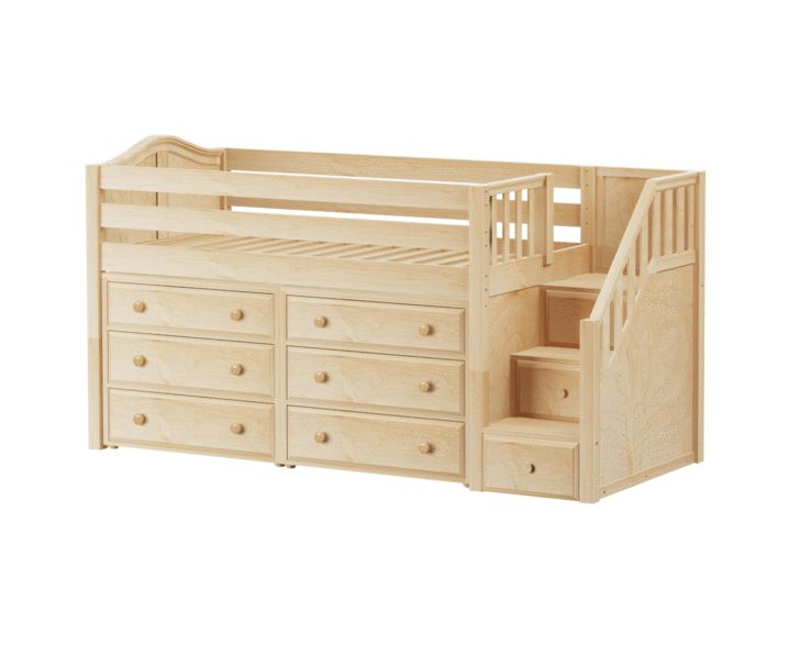 Maxtrix Twin Low Loft Bed With Stairs Storage