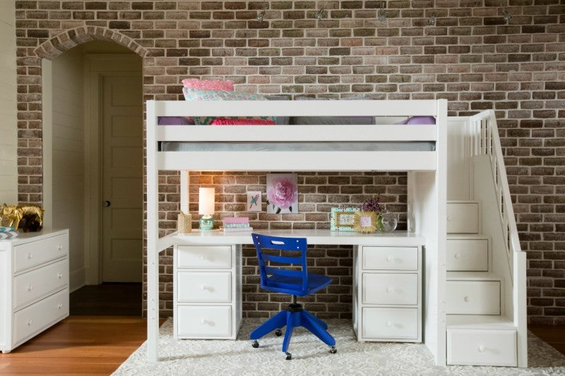 High Loft Bed W Staircase Long Desk And 2 3 Drawer