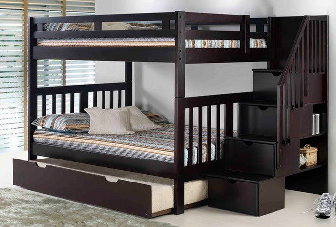 Full/Full Roma Espresso Bunk Bed w/Stairs
