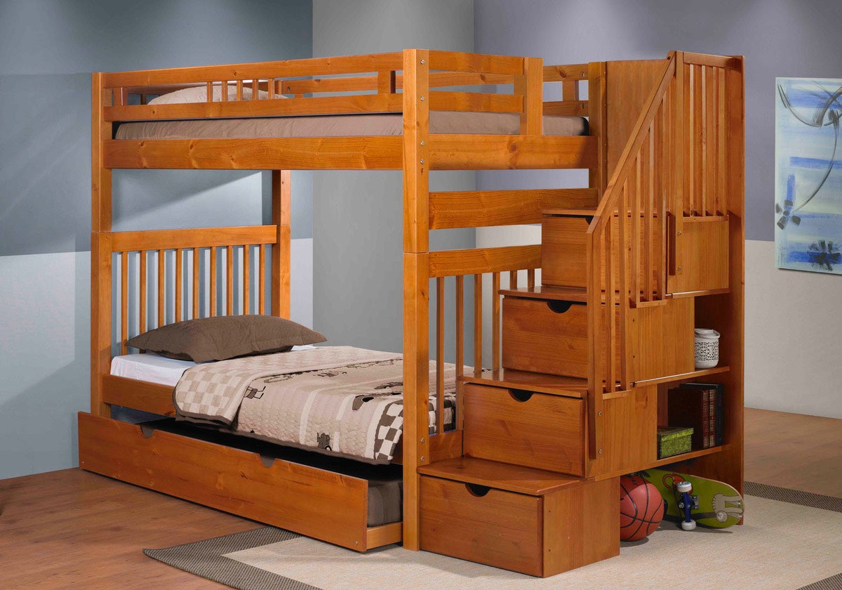 Sacramento Bunk Bed with Staircase in Pecan