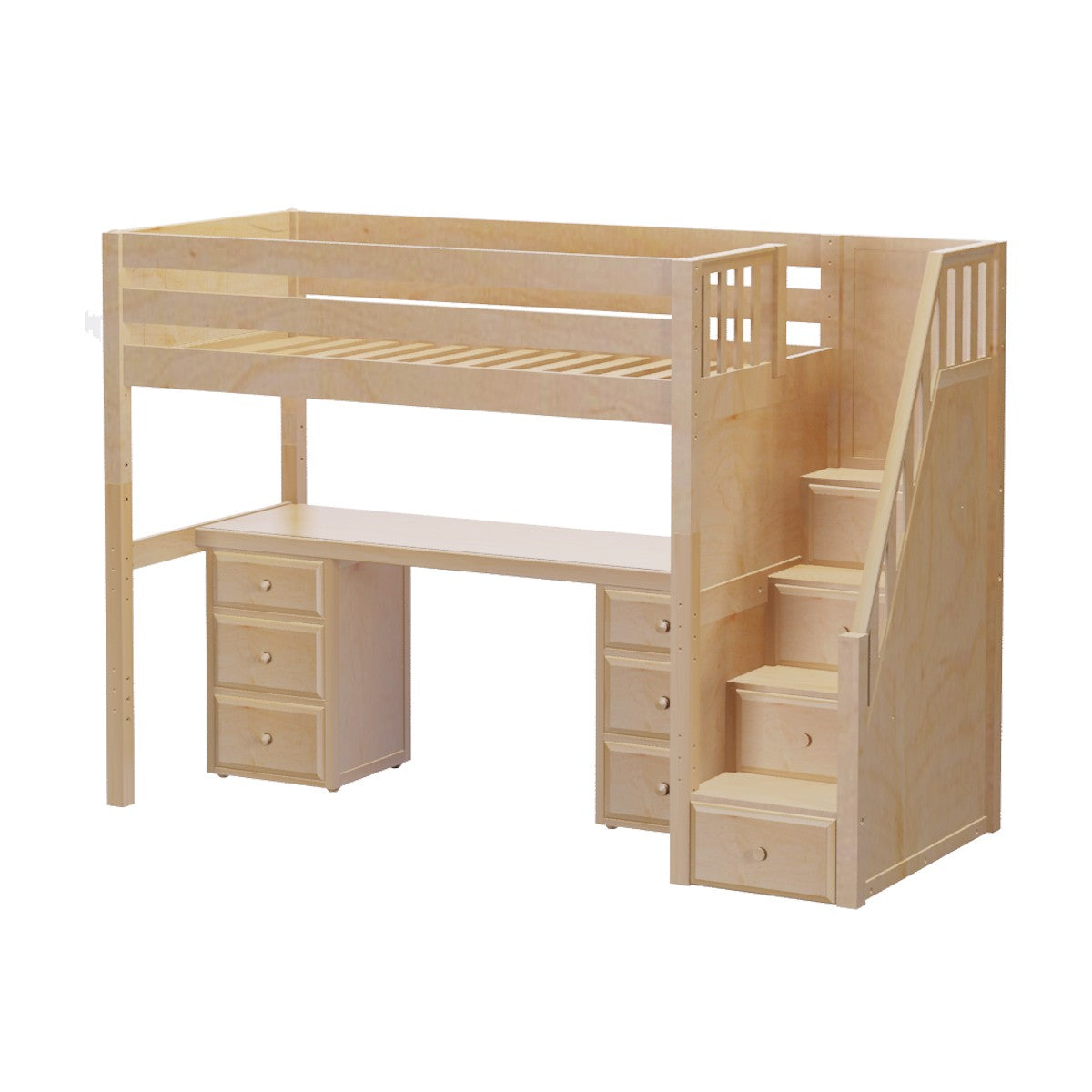 High Loft Bed w/Staircase, Long Desk and 2 - 3 Drawer ...