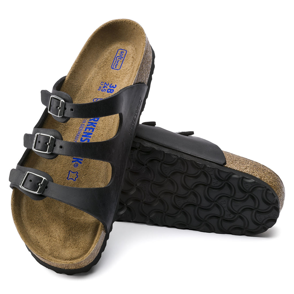 Florida Black Oiled Leather Soft Footbed