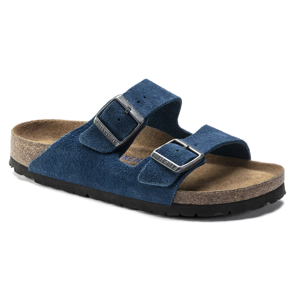 Arizona Moroccan Blue Suede Soft Footbed Narrow