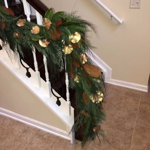 Florida Pine, Cypress and Cedar Mix with Painted Galax Leaves