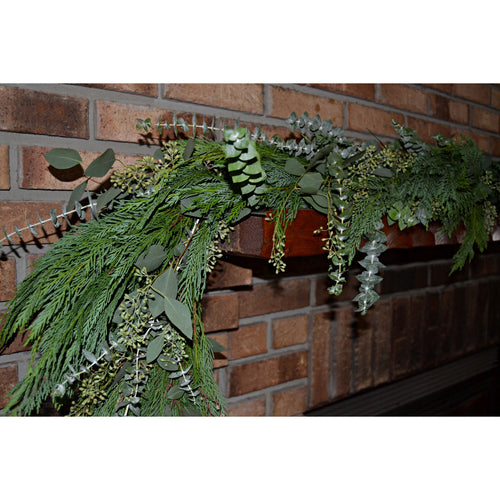 Leyland Cypress, Baby Blue Eucalyptus and Seeded Eucalyptus Mix Garland
