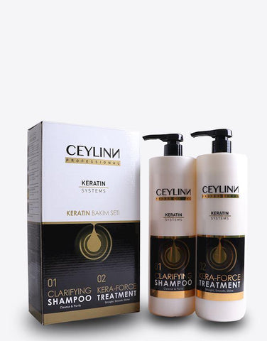 Ceylinn Keratin Straightening Treatment Hair Smoothing Kit 100ml + 375ml Keratin Conditioner