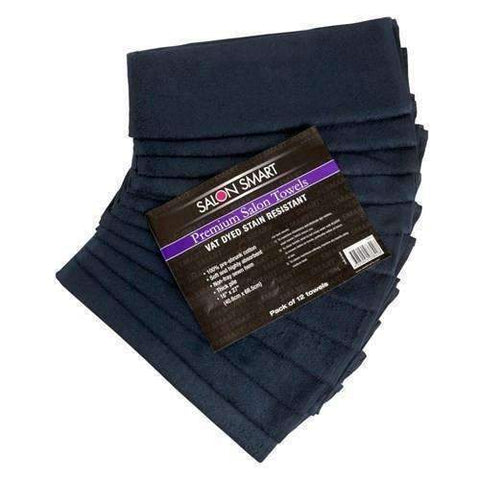 SALON SMART TOWELS - 12pk.  Black.  40cm x 68cm,Salon Supplies To Your Door