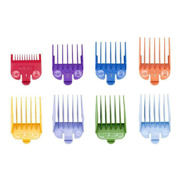 Wahl Coloured Plastic Clipper Guides in a Caddie #1 to #8,Salon Supplies To Your Door