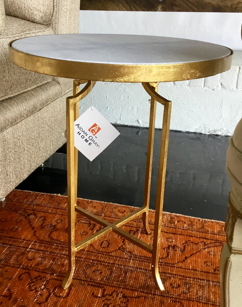 Gold Marble Round Side Table Kellie Burke Designs