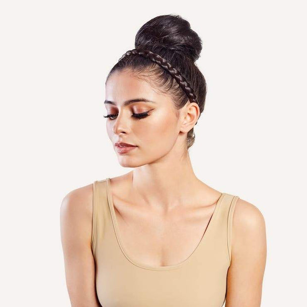 braid band styled with sammy bun on model