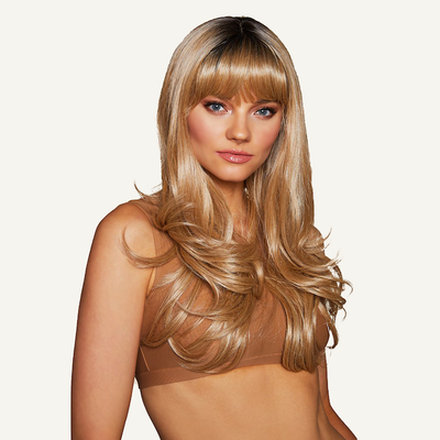 honey wig on model front angle