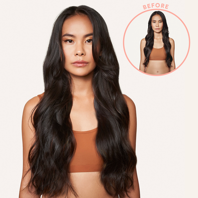 remy human hair medium on model