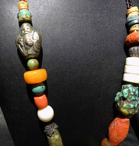 Tibetan Multistone Necklace, Vintage