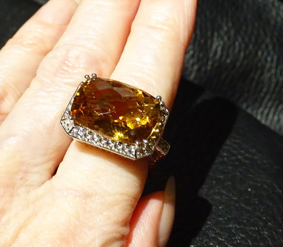 Citrine Statement Ring, Sterling Silver