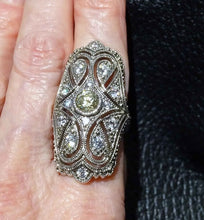Load image into Gallery viewer, Diamond Ring Replica, ArtDeco CZ. Sterling Silver