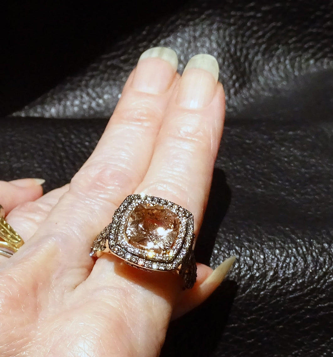 LeVian chocolate diamond morganite ring