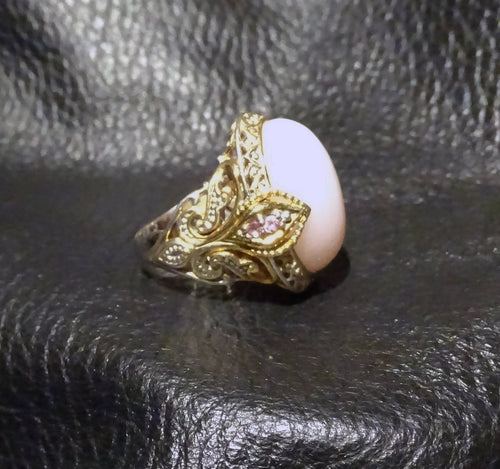 Featured Pink Opal Ring, Pink Sapphire Accents, Palladium Sterling Silver, 18K Gold