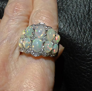 Featured Ethiopian Opal Ring, Natural White Zircons, 3.20ctw, Sterling Silver