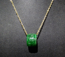 Load image into Gallery viewer, Jade Pendant Necklace, Natural Carved Jadeite, 14K Gold