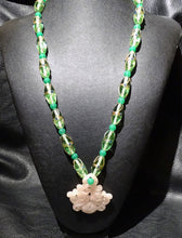 Load image into Gallery viewer, Vintage Chinese Necklace, Venetian Glass, Rose Quartz