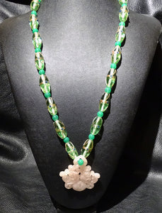 Vintage Chinese Necklace, Venetian Glass, Rose Quartz