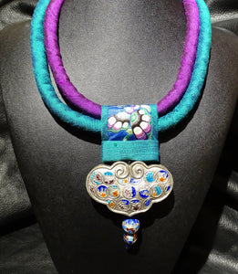 Chinese Pendant Necklace, Silk and Enamel