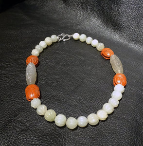 Jade Necklace, Carved White Nephrite