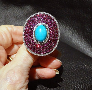 Turquoise Rhodolite Ring, Huge Statement