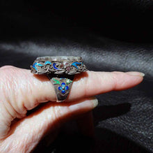 Load image into Gallery viewer, Jade Cloisonne Ring, Nephrite